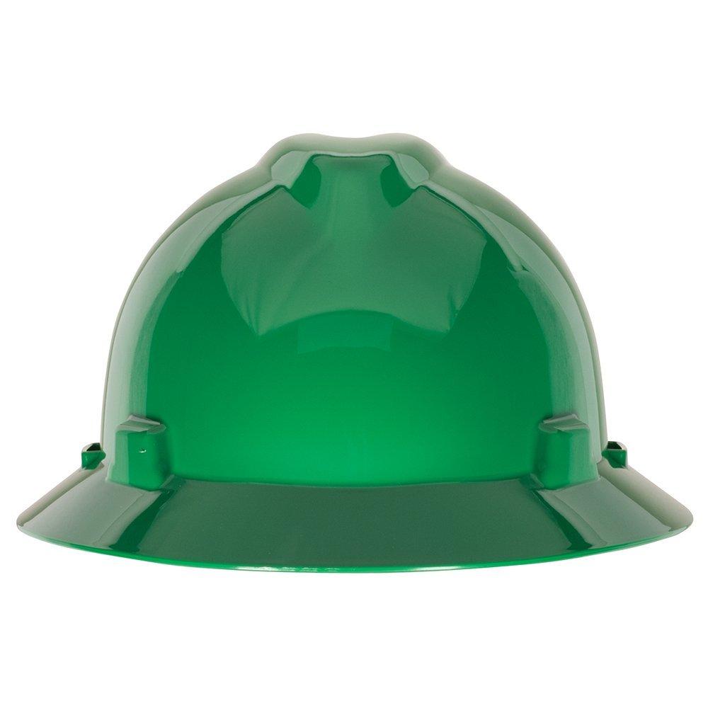 MSA 475370 V-Gard Hard Hat Full Brim with Ratchet Suspension, Standard, Green