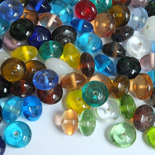 Glass Bead Mix Assorted Transparent Discs 8x14mm Bulk Pk 1/4kg Made in ()