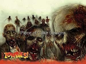 1/8 Sheet ~ Zombies! Halloween Birthday ~ Edible Image Cake/Cupcake Topper!!!