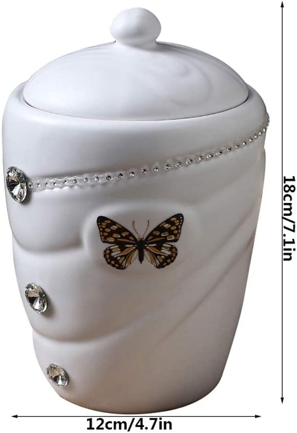 Ceramic Cremation Urns for Human Ashes or Pet Ashes,Memorial Burial Funeral Urn,Butterfly Pattern,Butterfly Pattern,Seven Colors,Blue