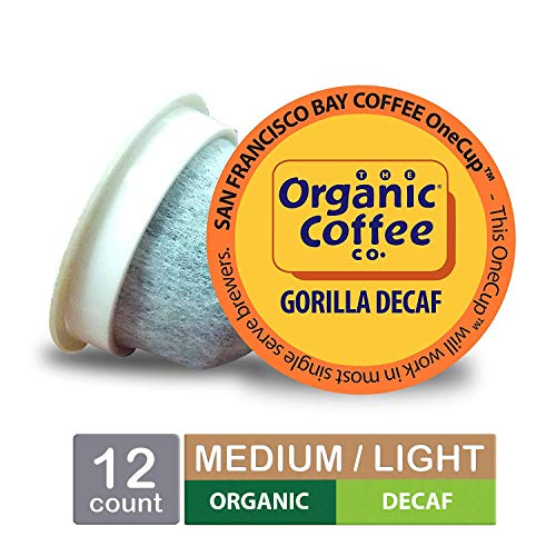 The Organic Coffee Co. OneCup, Gorilla DECAF, Single Serve Coffee K-Cup Pods (12 Count), Keurig ()