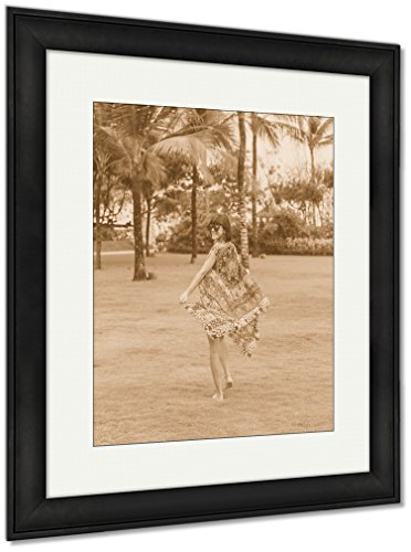 Ashley Framed Prints Woman Walking Barefoot On A Tropical Green Field Bali Island Indonesia NUSA Dua, Wall Art Home Decoration, Sepia, 30x26 (frame size), Black Frame, AG6399547 by Ashley Framed Prints
