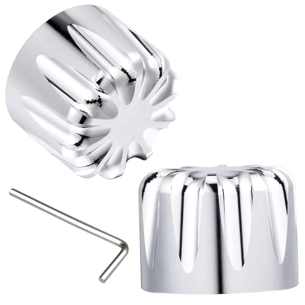 Amazicha Chrome Front Axle Nut Covers Caps for Harley Electra Glide 2008-2018
