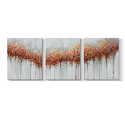 Piece Leaf Sofa 3 (Pinetree Art 3 Panels Living Tree Wall Art Wall Decor Abstract Tree Paintngs Contemperary Printing Leaf Art Home Decoration (A, small))