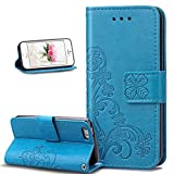 5c iphone light blue wallet case - iPhone 5C Case,Wallet Case for iPhone 5C,ikasus Embossing Clover Flower PU Leather Fold Wallet Pouch Case Leather Wallet Flip Stand Credit Card Holder Case Cover for Apple iPhone 5C,Clover Flower:Blue