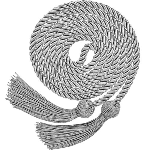 TecUnite Graduation Honor Cords Tassels Cord Polyester Yarn Honor Cord for Bachelor Gown for Graduation Students (Silvery)