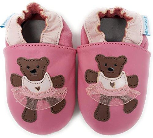 MiniFeet Weiche Leder Babyschuhe Krabbelschuhe - Baby Mädchen - Neugeborene bis 2-3 Jahre - Teddy Rosa / Weichen Wildleder Sohle