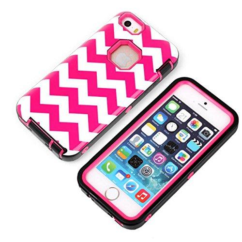 iPhone 5s cas, iPhone 5 cas, Motif Lantier rose Vague [3 en 1 Série Shield] Cas hybride avec Inner silicone souple et Housse extérieure dure PC pour Apple iPhone 5 / 5s Noir