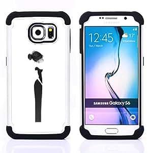 For Samsung Galaxy S6 G9200 - design haut couture woman black dress Dual Layer caso de Shell HUELGA Impacto pata de cabra con im????genes gr????ficas Steam - Funny Shop -