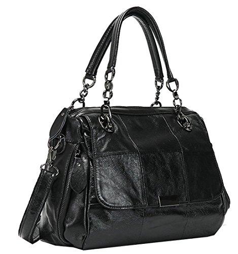 Heshe Leather Sheepskin Shoulder Handbags Totes Top Handle Bag Flap Pocket Satchel Purse Cross Body Bags for Women and Ladies (Black) - Flap Pocket Shoulder Bag
