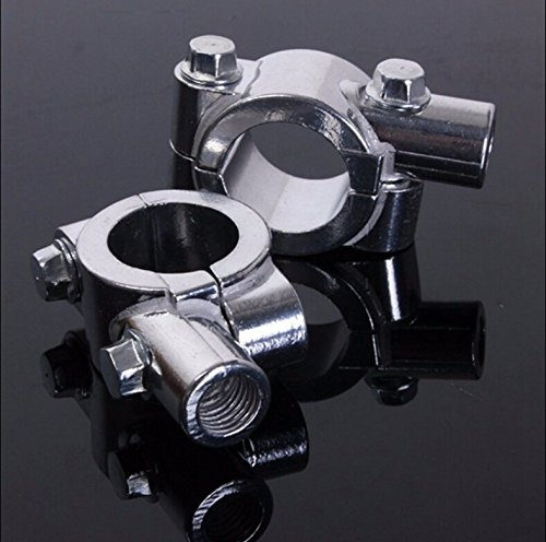 "HK Moto- Motorcycle Chrome 1"" 25mm Motorcycle HandleBar 10mm Mirror Thread Mount Holder Clamp Adaptor"