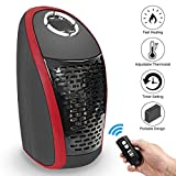 Portable Space Heater, LEEGOAL 400W Ceramic Mini Wall Plug-in Electric Heater with Remote Control, Personal Heater Fan with Adjustable Thermostat for Home, Office, Outdoor