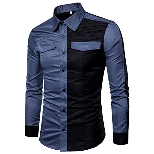 (iLXHD Me's Long Sleeve Oxford Casual Suits Slim Fit Tee Dress Shirts Blouse Top(Blue,2XL))
