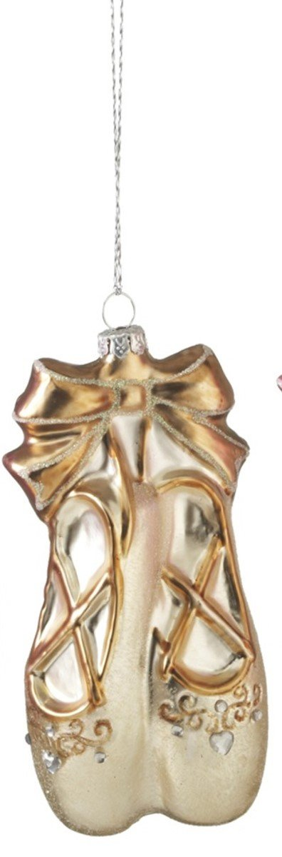 Blown Glass Ballet Slipper Christmas Ornament (Gold)