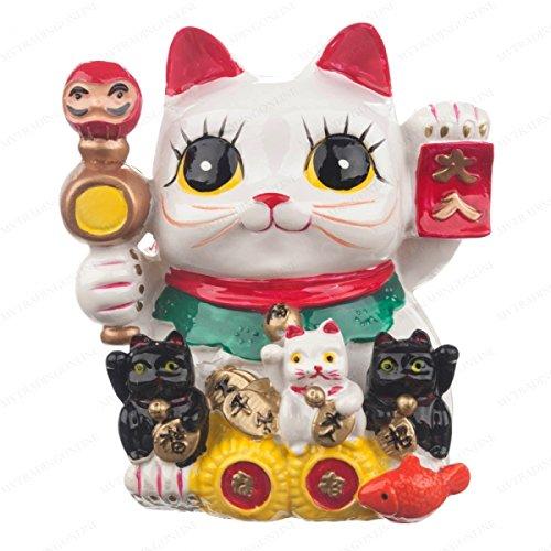 Feng Shui Big Eyes Maneki Neko Lucky Cat Coin Bank for Wealth by M.V. Trading