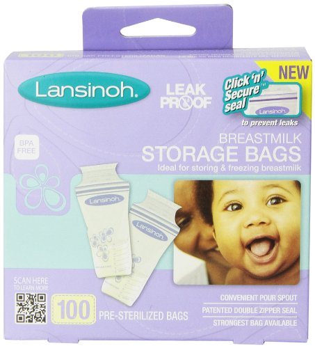 Lansinoh Breastmilk Storage Bags, 100 Count convenient milk storage bags for breastfeeding