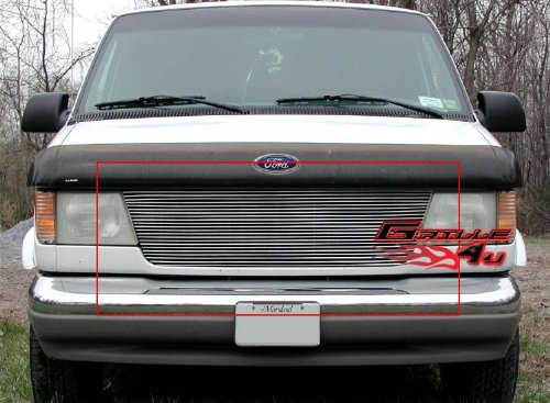 APS F85337A Polished Aluminum Billet Grille Replacement for select Ford E-150 Econoline (E-150 Econoline Club Wagon Fender)