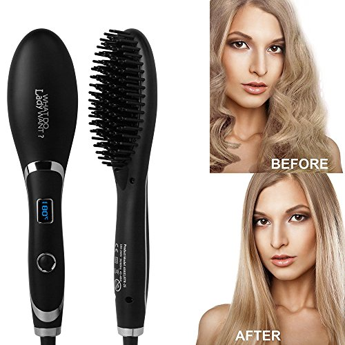 Ionic Hair Straightener Brush, LED Display/Adjustable Temperatures/Anti Scald Hair Straightening Brush, Portable Frizz-Free Hair Care Silky Straight Heated Comb