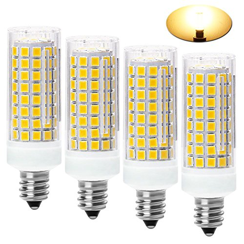 (All-New-(102LEDs) E11 Led Bulbs, 80W or 100W Equivalent Halogen Replacement Lights, Dimmable, Mini Candelabra Base, 850 Lumens Warm White 3000K, AC110V/ 120V/ 130V, Replaces T4 /T3 JD e11,pack of 4)