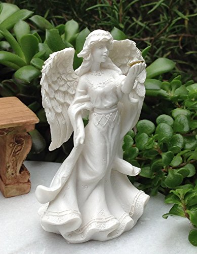 Miniature Figurine Fairy Garden White Angel Figurine With Gem & Flowers