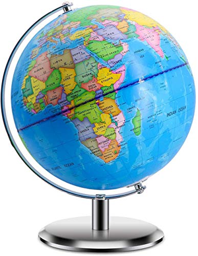 World Globes for Kids - Larger Size Educational World Globe with Stand Adults Desktop Geographic Gobles Discovery World Globe Educational Toy for Children - Geography Learning Toy (Blue)