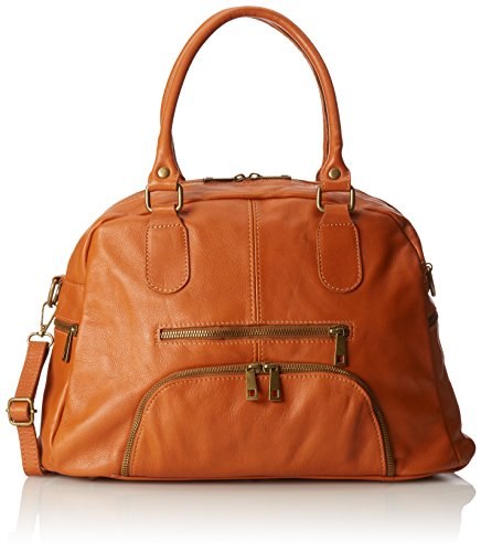En Moda 100 Style Grande cuoio Orange In Sac Ctm Véritable Italy Chicca Satchel 47x29x21cm Cuir Made Tutto Femme f5wzBCq