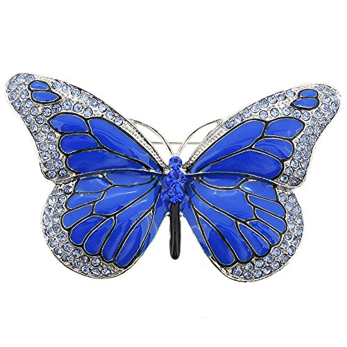 Blue Butterfly Pin - Blue Butterfly Crystal Pin Brooch