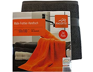 Facotti walk frottier handtücher im 2er pack in dunkelgrau aus 100
