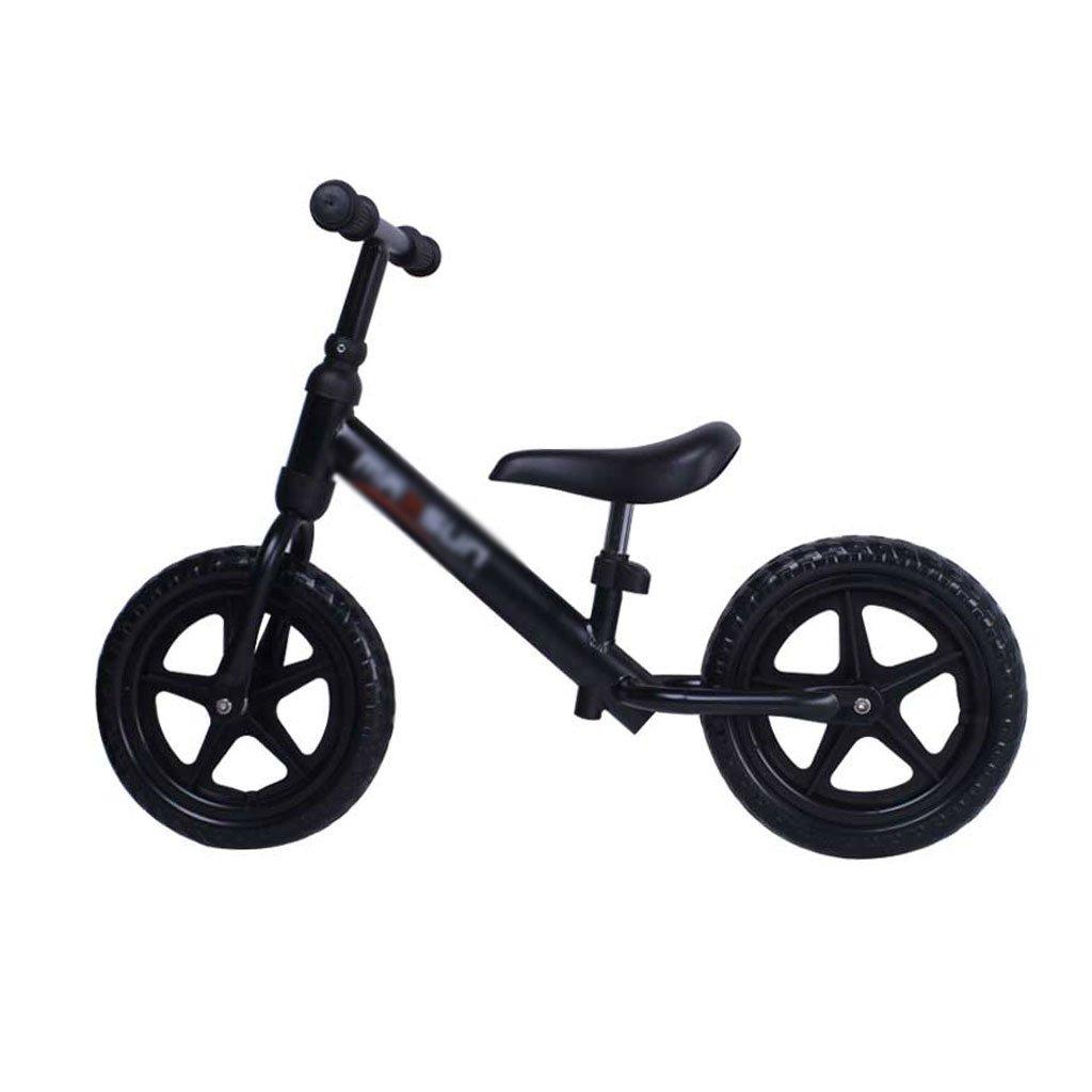 いいえペダル2輪スクーターベビースクーター子供スクーターペダルなしバギー子供ダブルホイール自転車2ラウンドバランスカー2-8歳  Black B07F5DGN9L