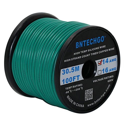 BNTECHGO 14 Gauge Silicone Wire Spool Green 100 feet Ultra Flexible High Temp 200 deg C 600V 14 AWG Silicone Rubber Wire 400 Strands of Tinned Copper Wire Stranded Wire for Model Battery Low Impedance