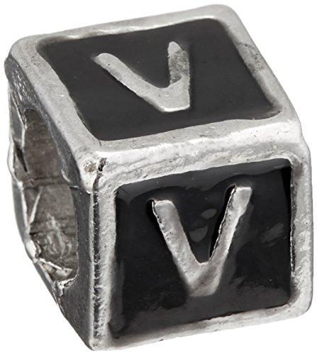 Buckets of Beads Enamel Letter Charm Bead, Monogram V, (Black Enamel Letter Charm)