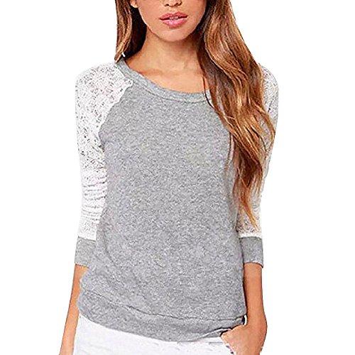 Hengzhi Women's Long Lace Sleeve Sexy Light Scoop Neck Cute Shirt Sweatshirt (Cheap Sexy School Girl Outfits)