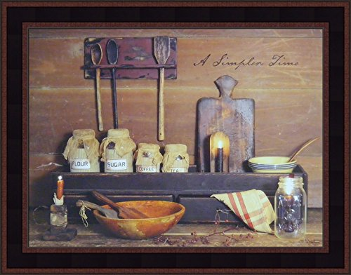 A Simpler Time by Billy Jacobs 15x19 Primitive Kitchen Vintage Baking Folk Art Photography Framed Print Picture (Country Black Woodtone)