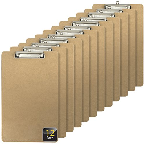 Officemate Recycled Legal Size Wood Clipboard, Low Profile Clip, 12 Pack, Brown (83227)