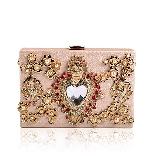 Flower Pink Rhinestone Lady Rising Party Box Handbag Diamonds Crossbody Evening Purse Bags Hollow Women Clutch ON Bags Wedding qwwPCT