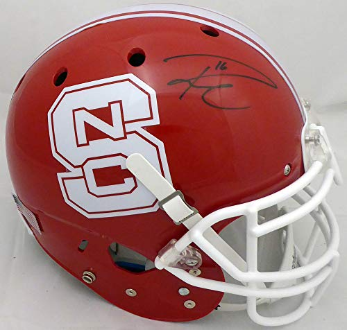 Russell Wilson Autographed Red NC State Wolfpack Full Size Authentic Proline Helmet RW Holo #49730 ()