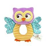 Newborn Infant Baby Owl Rattles Ring Plush Toys Handbell Grab Soft Stuffed Rattle Toys for Toddler