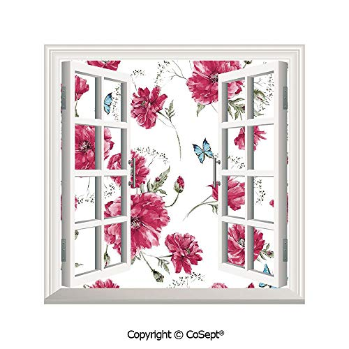 SCOXIXI Open Window Wall Mural,Various Size Elegant Poppies with Butterflies Feminine Dramatic Print Home Decorative,for Living Room(26.65x20 - Poppy Syracuse