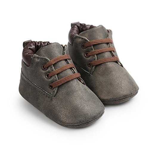 Crib Shoes,Vanvler Antislip Baby Toddler Soft Sole Leather Footwear Infant Boy Girl Toddler Shoes (Dark Gray, 13)