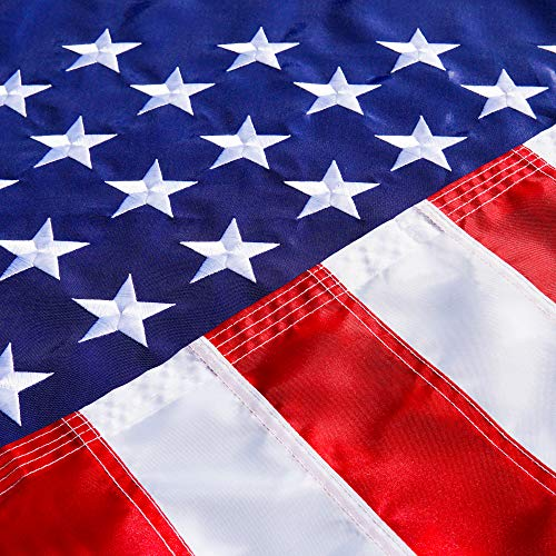 American USA US Flag 3x5 ft - Deluxe Embroidered Stars, Heavy Duty Durable Flags Built for Outdoors, Vivid Color, Sewn Stripes, Brass Grommets, Double Stitched UV Protection Perfect for Outside (Outdoor Flags Cheap)