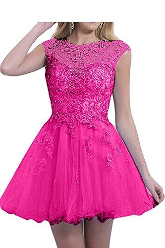 Ballkleider mia Pink Kurz Herrlich Tanzenkleider Cocktailkleider La Spitze Damen Rock Abendkleider Promkleider Mini Pink Braut dqUtxwT0