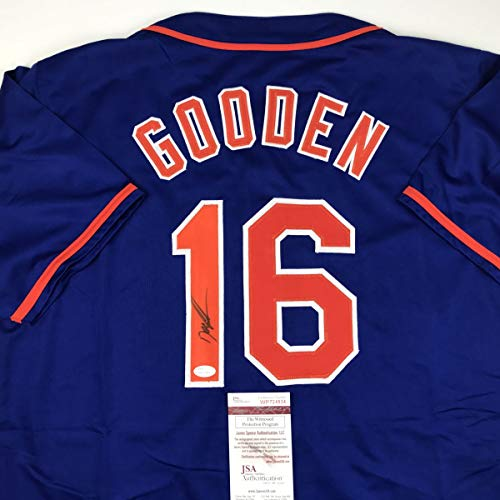 Autographed/Signed Dwight Doc Gooden New York Blue Baseball Jersey JSA COA ()