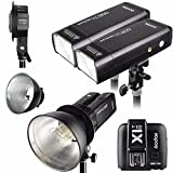Godox 2pcs AD200 200Ws 2.4G TTL Flash Strobe Kit + X1T-S + AD-B2 + Bowens Reflector w/ EACHSHOT Cleaning Cloth for Nikon