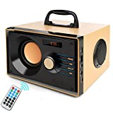 Desktop Wooden Bluetooth Speaker 10w Powerful Wireless Stereo Subwoofer Loudspeakers Music Player Support Digital Display Remote Control FM Radio TF Card USB AUX Speakers for Home Party for Phone