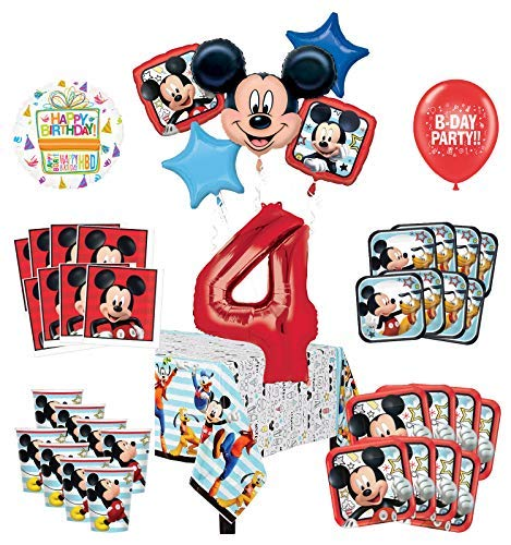 Mayflower Products Mickey Mouse and Friends 4th Birthday Party Supplies 8 Guest Decoration Kit and Balloon - Party 8 Guest Kit