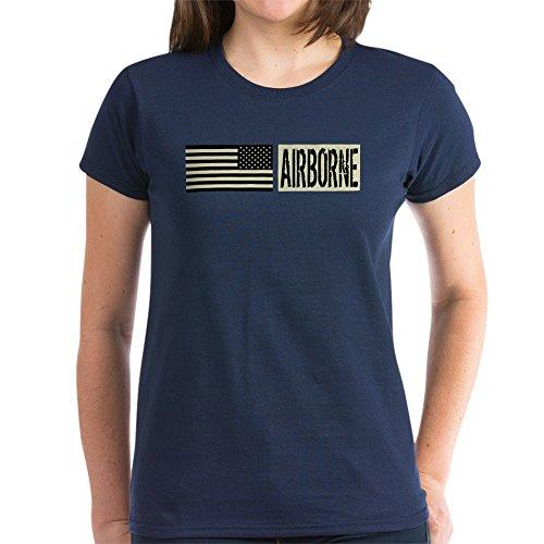 CafePress - U.S. Military: Airborne (Blac Women's Dark T-Shirt - Womens Cotton T-Shirt Navy