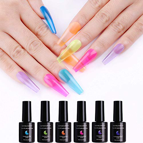Makartt Crystal Bright Jelly Gel Nail Kit 6PCS Shiny Resistant Soak Off UV LED Curing Gels Manicure Pedicure P-08