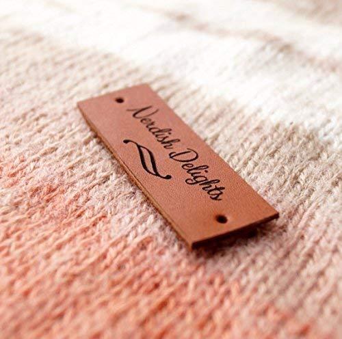 92b315bd2ab92 Leather knitting labels, custom clothing labels, personalized leather  labels, care labels, Handmade custom label tags, set of 25