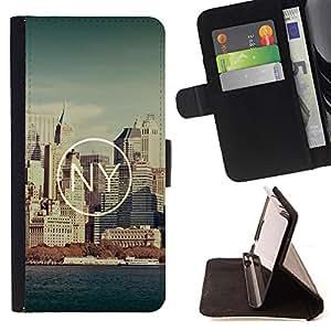 - New York City NY - - Monedero PU titular de la tarjeta de cr?dito de cuero cubierta de la caja de la bolsa FOR Apple Iphone 5C Retro Candy