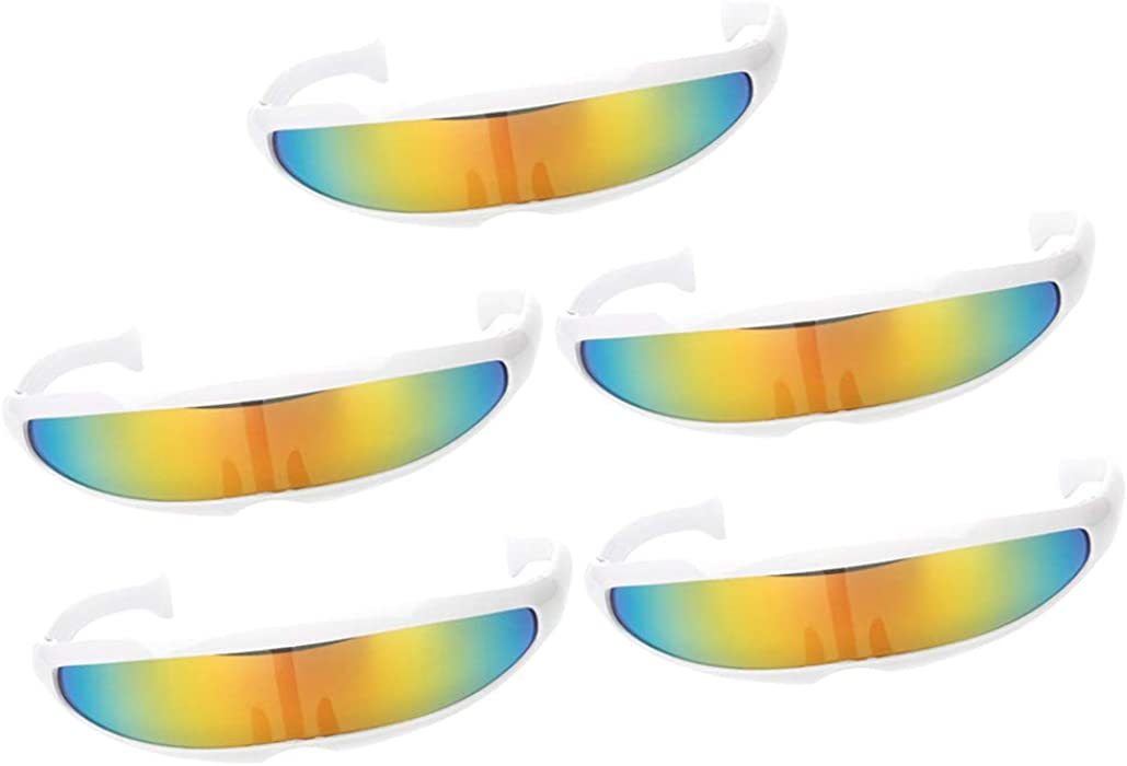 959f0db6a8ecd Amazon.com  SM SunniMix Pack of 5 Yellow Futuristic Cyclops Mirrored  Sunglasses Narrow Shield Party Eyewear  Clothing